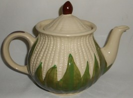 1940s White Corn Shawnee Pottery - Corn King Pattern 30 Oz Teapot Ohio - $49.49