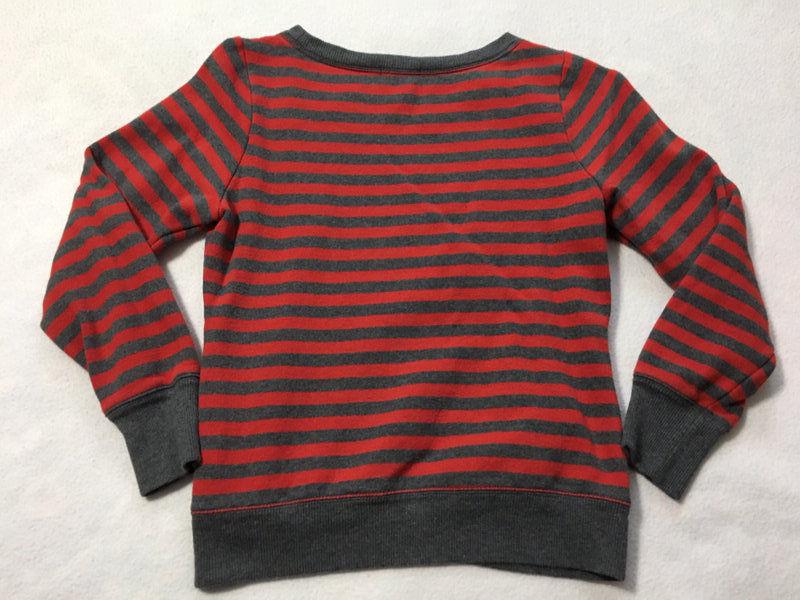 Gap Kids XXL 14 Red Gray Stripe White Heart Logo Sweatshirt Girls