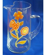 Vintage Culver Pitcher -  Summer Flowers on Glass with Ice Lip - $37.39