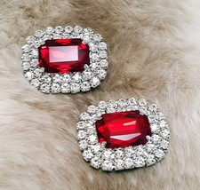 Brilliant Special Events Rhinestone Silver Plated RED Shoe Clips  - $15.00