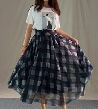 High Waisted BLACK PLAID Skirt Long Tulle Black Plaid Skirt Outfit Plus Size image 2