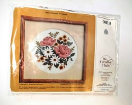 Creative Circle Floral Bouquet Needlepoint Kit Vintage 1983 Complete Sealed - $24.70