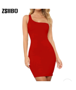 Ladies Casual One Shoulder Tank Top Long Sleeve Sleeveless Dress - $12.15