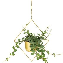 Brass Gold Geometric Metal Hanging Plant Pot | Decorative Diamond Flower... - $37.50