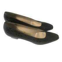 Salvatore Ferragamo Leather Shoes Black Crocodile Embossed Pumps Womens... - $39.56