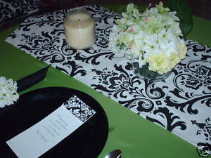 "Damask Table Runner Black and White 60"" long Traditions"