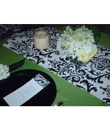 "Damask Table Runner Black and White 60"" long Traditions - $14.50"
