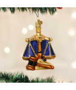 OLD WORLD CHRISTMAS SCALES OF JUSTICE GLASS CHRISTMAS ORNAMENT 36160 - $15.88