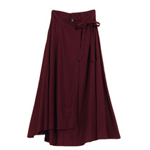 Women High Waist Wrap Skirts Ankle Length Linen Cotton Skirt,Khaki Wine-red Gray image 1