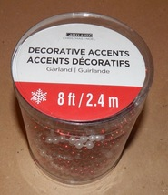 Christmas Garland Beads 8' Feet Long Ashland Decorative Accents Red/Whit... - $9.49