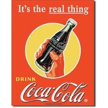 Coca Cola Coke Real Thing Bottle Advertising Vintage Retro Style Metal T... - $14.95