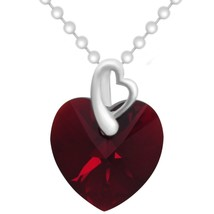 """Valentine Gift """"Made with Swarovski Crystals"""" Red Heart Teardrop Pendant... - $39.15"""