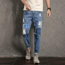 2018 New Arrivals Hip Hop Style Jeans Men Pants Big Patch Ripped Jeans Men Korea - $41.82