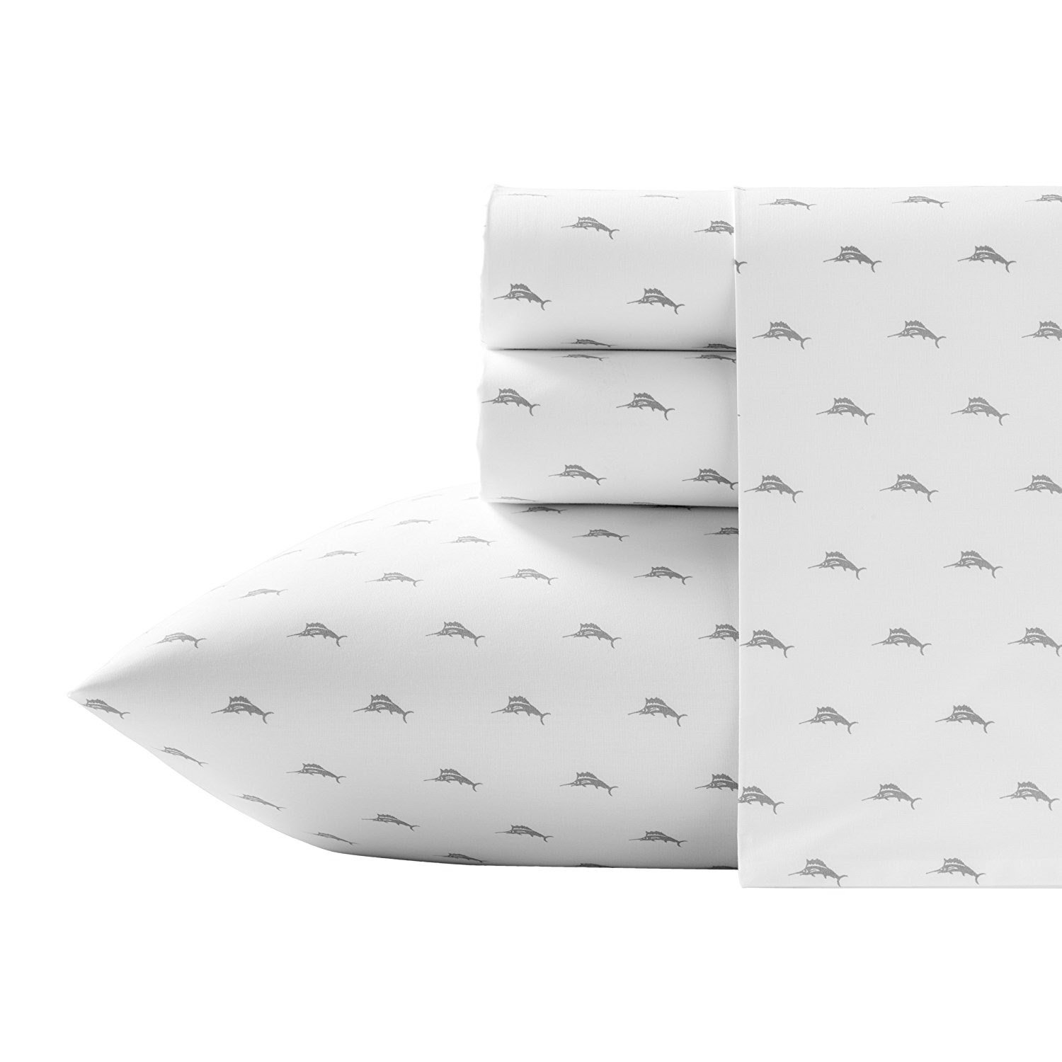 Tommy Bahama Gray Marlins Swordfish/Relaxed White Cotton Percale Sheet Set King