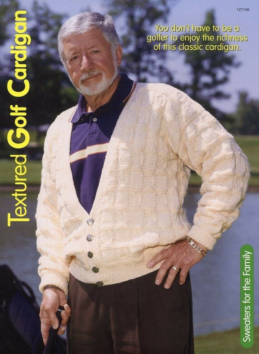 Primary image for Textured Golf Cardigan Sz S-2XL HoWB Knitting Pattern Leaflet NEW
