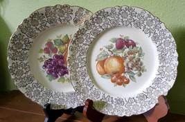 "SCARCE 2 Homer Laughlin Antique Cabinet Plates Fruit Gold Filigree Scalloped 9"" - $22.00"