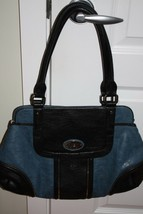 Large Blue and Black Guess Sachel Handbag - $54.45