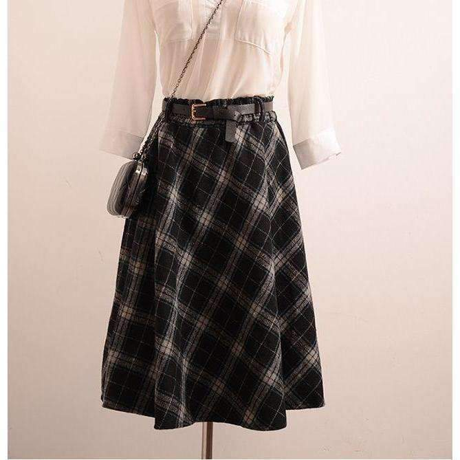 Retro Plaid A-Line Winter Women Pleated Midi Skirts