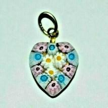 Vintage Murano Millefiori Glass Heart Pendant Gold Plated - $29.60