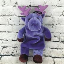 Fashy Purple Moose Warm Water Bottle Buddy Carrier Stuffed Animal Comfor... - $24.74