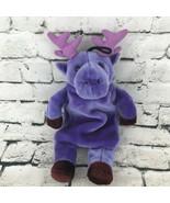 Fashy Purple Moose Warm Water Bottle Buddy Carrier Stuffed Animal Comfort Toy - $24.74