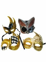4 Value Package Masquerade Mardi Gras Mask Set Cat Steampunk Flame - $39.59