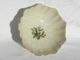 Vint Lenox Holiday Dimension Special Holly & Berry Fluted Bon Bon Bowl 2... - $11.99