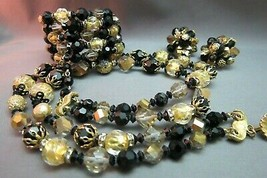Vintage Vendome Parure Set Necklace Bracelet Earrings Signed Black Gold ... - $118.79