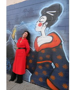 Long Red Sweater Dress Coat Vintage 70's Style ... - $139.00