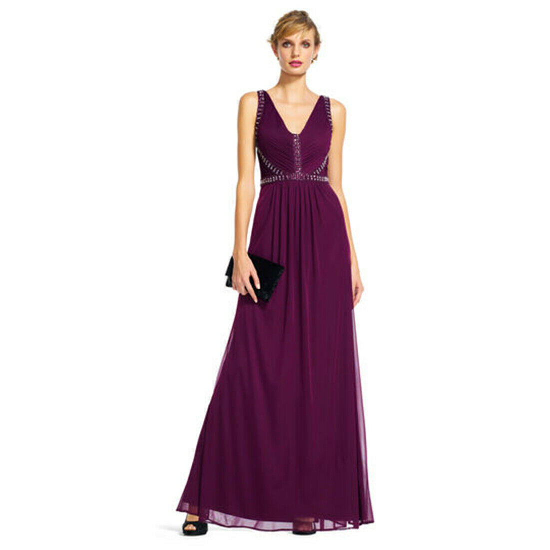 Adrianna Papell Draped Tulle Dress with Jeweled V-Neck Bodice, Cassis, 12