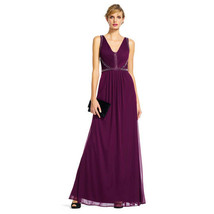 Adrianna Papell Draped Tulle Dress with Jeweled V-Neck Bodice, Cassis, 12 - $108.89