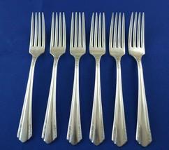 6 Wm A Rogers Oneida Malibu 1934 Dinner Forks - $17.82