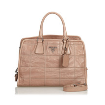 Pre-Loved Prada Brown Beige Others Leather Quilted Satchel Italy - $686.19