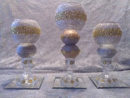 3pc. Silver & Gold Bling Candleholder Set - $78.09