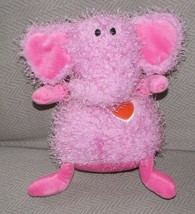 HALLMARK STUFFED PLUSH PINK ELEPHANT BEAN BAG SHAGGY FURRY RED HEART VAL... - $46.52