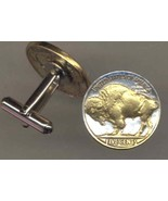 Buffalo Nickel 2-Toned Gold on Silver, Coin Cufflinks - $84.00