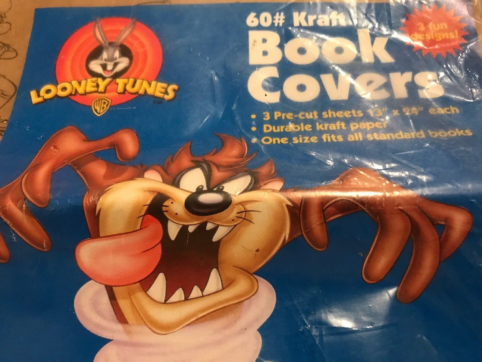 "Kraft Book Covers Looney Tunes 3 Pre Cut 13"" X 24"""