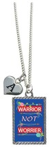 Custom Warrior not Worrier Inspirational Silver Necklace Jewelry Choose Initial - $17.09