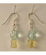 Faux Aquamarine and Faux Citrine Glass Bead Dangle Pierced Earrings Fren... - $11.00