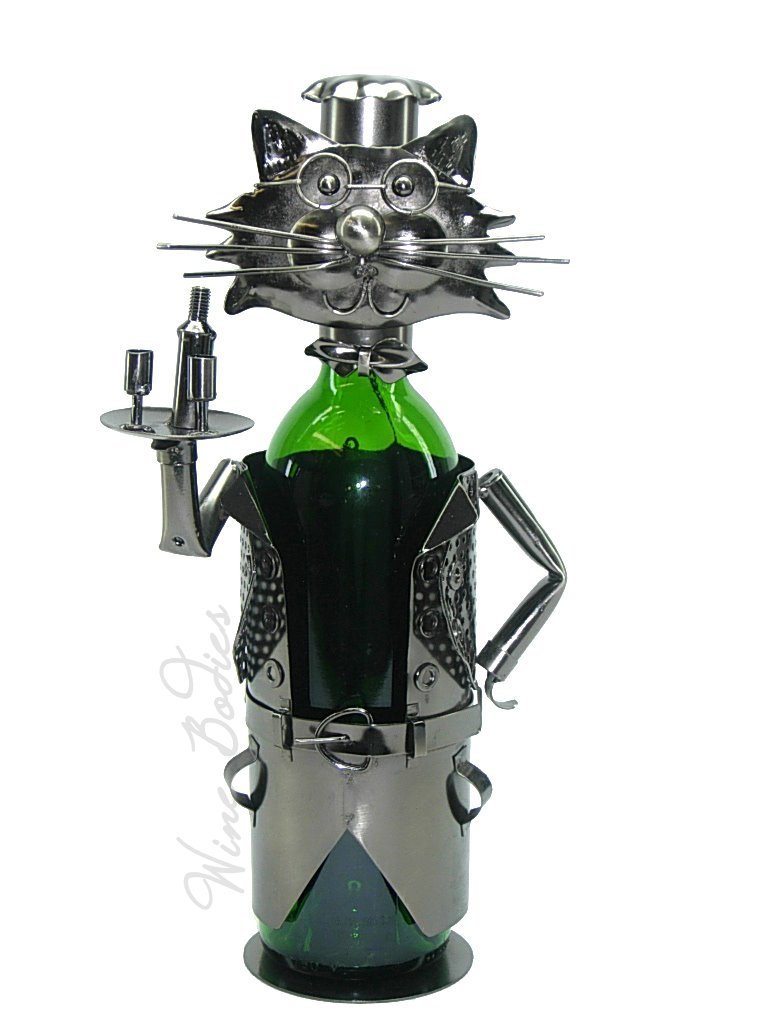 High Quality Genunie Hand Made Caddy Cat Waiter Metal Wine Bottle Holder Free Sh