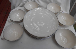 11 FRANCISCAN PLATINUM BAND COFFEE CUPS SALAD PLATES IVORY LOT USA - $38.70