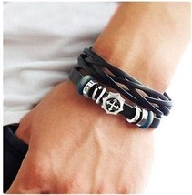 Coolla Black Leather And Beads Cross Charm Bracelet With Metal Woven Sna... - $21.90