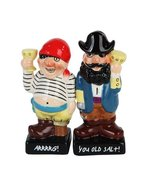 "3.75"" Captain Hook & Pirate Cheers Magnetic Salt & Pepper Shakers -Attra... - $13.49"