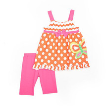 Girls size 4T Nannette Orange Sleeveless Butterfly Dot Top and Shorts Se... - $11.99