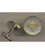 "German 1 mark ""Eagle""  2-Toned Gold on Silver Coin Cufflinks - $98.00"