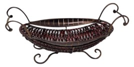 Vintage Rustic Woven Oval Table Basket Wrought Iron Handles Footed 16 x ... - $44.99