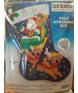DESIGN Santa Claus Reindeer Felt Jeweled Christmas Stocking Kit 5015 - $19.79
