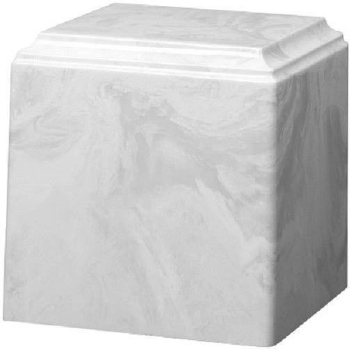 Primary image for Large/Adult 280 Cubic Inch White Carrera Cultured Marble Cube Cremation Urn