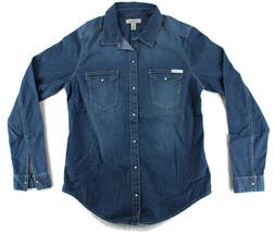Calvin Klein Jeans Womens Denim Blue Shirt SZ S White Pearl Snap Long Sl... - $14.99