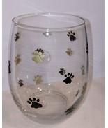 Cute Pawprint Stemless Wine Glass Hand Painted Animal Dog Barware Wine G... - $9.00